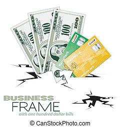 cartes, crédit, factures, dollar, fissure