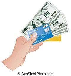 cartes, crédit, factures, dollar, main