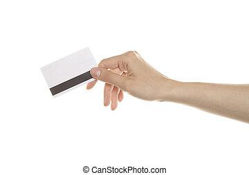 cartes, crédit, main
