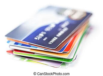 cartes crédit, pile, blanc