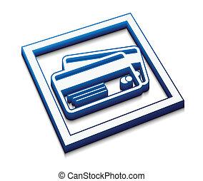 cartes, crédit, vecteur, icône
