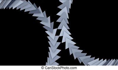 cartes, en mouvement, triangle, flèche