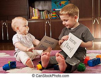 cartes, enfants jouer