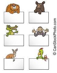 cartes, ensemble, animaux, dessin animé