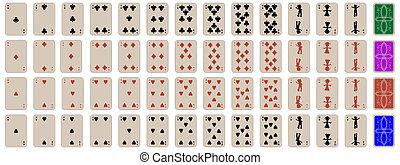 cartes, ensemble, jouer, complet, gosses