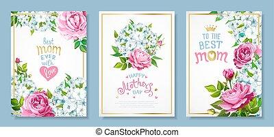 cartes, ensemble, jour, mères