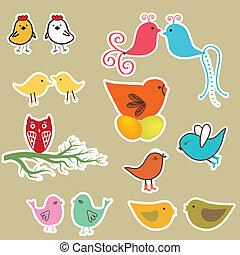cartes, ensemble, oiseaux, valentines