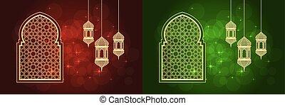 cartes, ensemble, ramadan