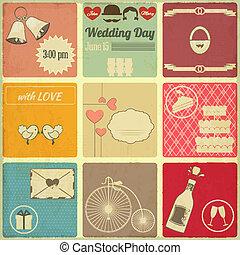 cartes, ensemble, retro, mariage