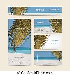 cartes, exotique, conception, business, île