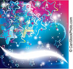 cartes, fête, fond, étoiles, noël