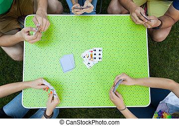 cartes, fête, jardin, jouer