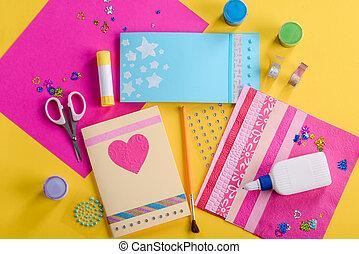 cartes., fait main, salutation, poser, plat, lieu travail, enfant, coup