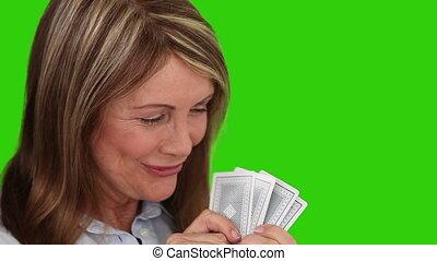 cartes, femme aînée, jouer