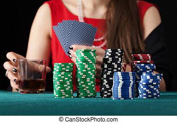 cartes, femme, alcool, jouer