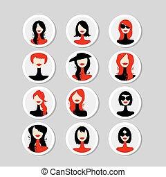 cartes, femme, conception, ton, faces