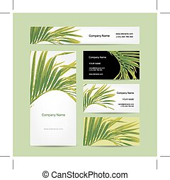 cartes, feuille tropicale, conception, business