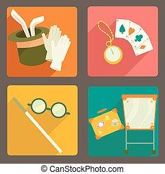 cartes, flash, éléments, magicien