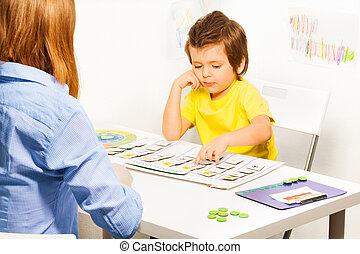 cartes, garçon, points, jour, activités