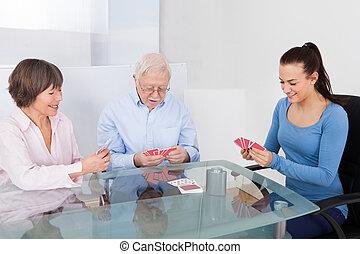 cartes, gardien, couple, personne agee, jouer