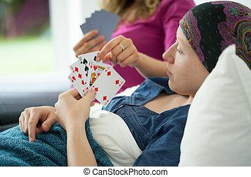 cartes, girl, jouer, cancer