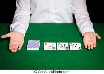 cartes, holdem, revendeur, jouer