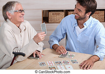cartes, jeu mère, fils