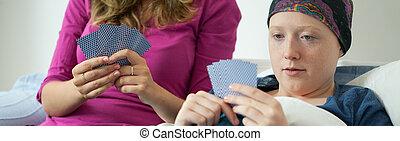 cartes, jouer, ami, malade