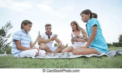 cartes, jouer, famille