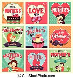 cartes, jour, mère