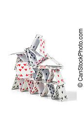 cartes, maison, écroulant