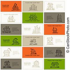 cartes, maisons, conception, ton, business