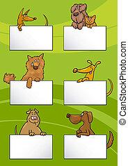 cartes, mettez stylique, dessin animé, chiens