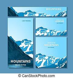 cartes, montagnes, bannières, business