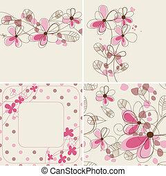 cartes, motifs, vecteur, floral, seamless
