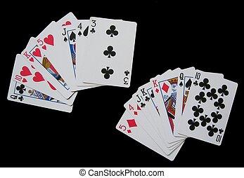 cartes, noir, multiple, jouer