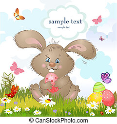 cartes, paques, dessin animé, lapin, heureux