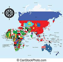 cartes, pays, contour