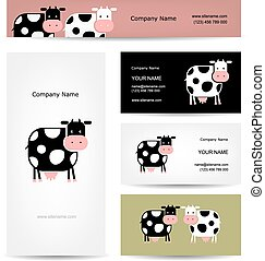 cartes, rigolote, conception, vache, business