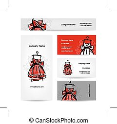 cartes, robe, conception, business, rouges