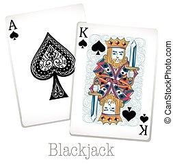 cartes, roi, vingt-et-un, as