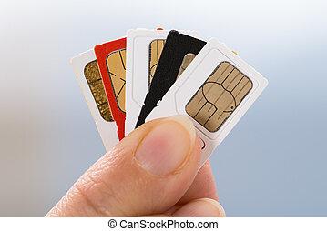 cartes, téléphone, sim, main