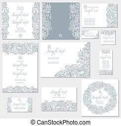 cartes, vecteur, gabarit, mariage