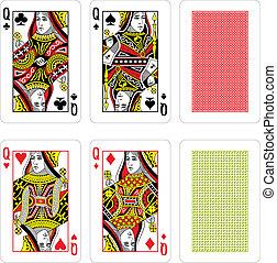 cartes, vecteur, jouer
