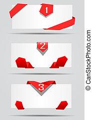 cartes, vecteur, rubans, rouges