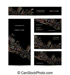 cartes, ville, conception, business, nuit