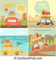 cartes, voyage, ensemble