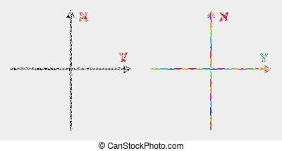 cartesian, triangulo, machados, vetorial, elementos, mosaico, ícone