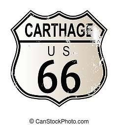Carthage Route 66 traffic sign over a white background and the legend ROUTE US 66