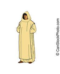 Carthusian monk. - Illustration of a Carthusian monk on a...